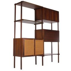 Mid-Century Modern Danish Style Wall Unit or Book Shelf in Walnut and Cane