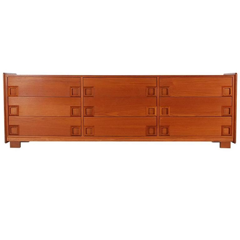 Danish Modern Mid-Century Teak Triple Dresser or Credenza after John Stuart