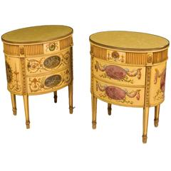 Pair of English Yellow Polychrome Cabinets in the Neoclassical Style