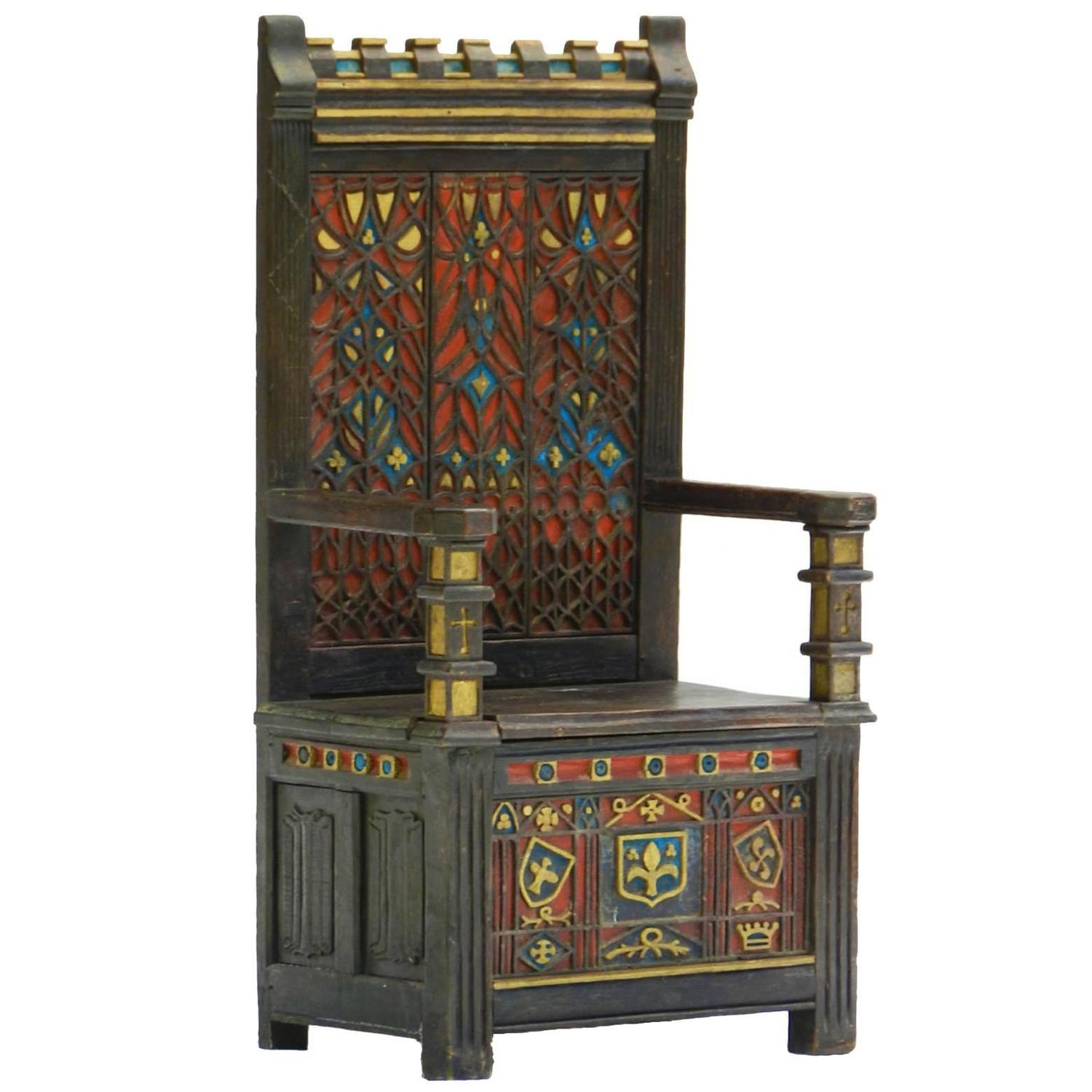 Arts and Crafts Throne Chair Polychrome Monks Bench Settle Ottoman