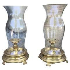 Pair of circa 1970s Brass Hurricane Stands with Globe and Candleholder
