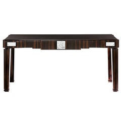 Lalique Natural Ebony Console or Entryway Table with Crystal Roses Panel