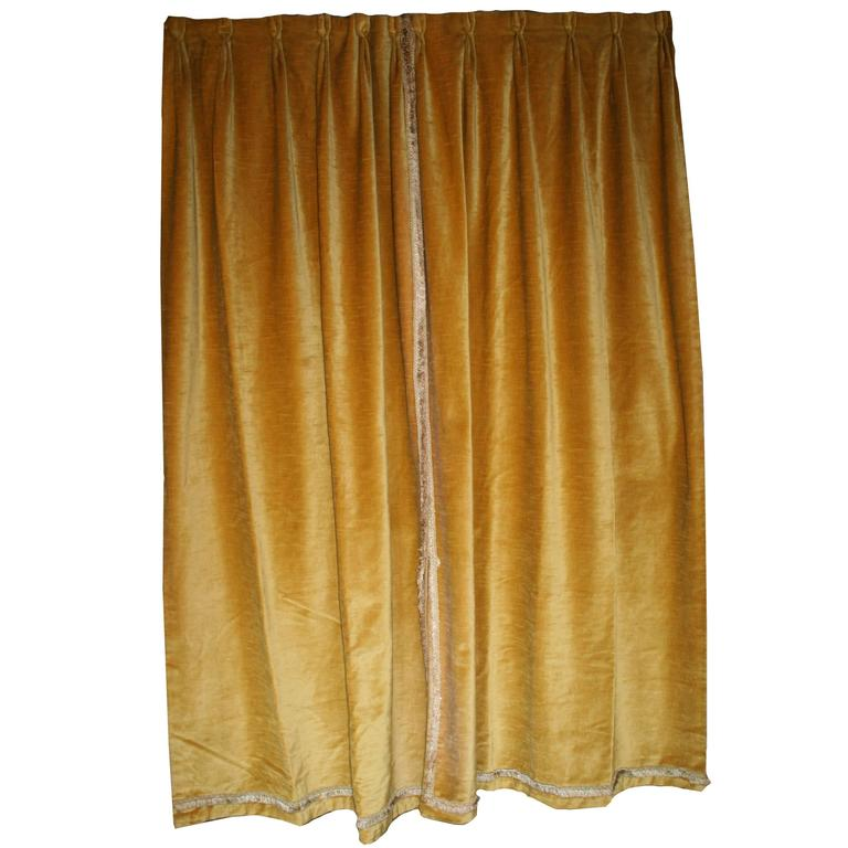 Pair Of French Gold Velvet Drapes With Ivory Cotton Lining These Pleated Have A