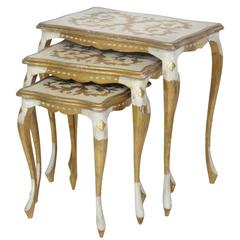 Florentine Style Paint Decorated Nesting Tables