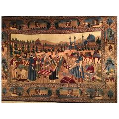 20th Century Iranian Rug: The Market of Ispahan Wool and Silk Shah Period