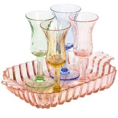 Mid-Century Multi-Color Cordial Set and Tray