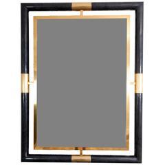 Black Lacquer and Brass La Barge Mirror