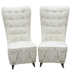 Pair of Buffa Tufted Upholstered Slipper Chairs