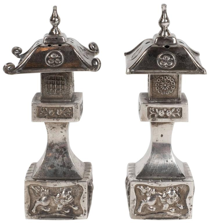 Elegant Pair Of Imperial Chinese Pagoda Style Sterling