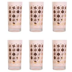 Mid-Century Four Leaf Clover Glasses, Set of Six