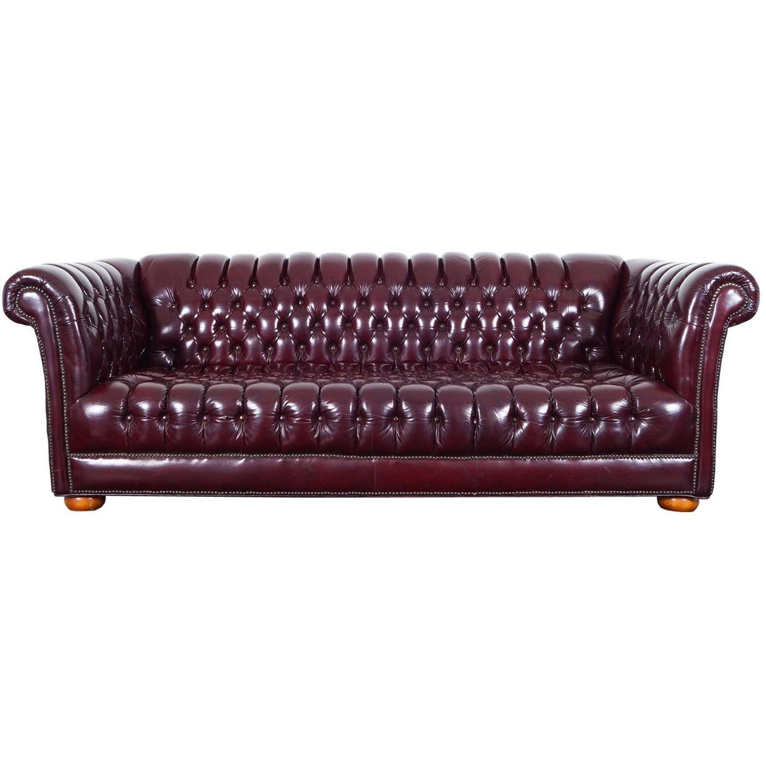 Vintage Burgundy Leather Chesterfield Sofa For Sale at 1stdibs