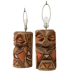 Pair of Rustically Carved Northwest TOTEM Lamps, circa 1950s