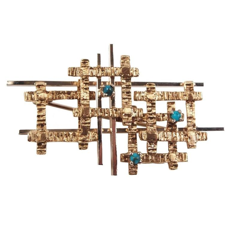 Sculptural 14-Karat Gold and Turquoise Brutalist Pin or Brooch For Sale