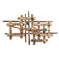 Sculptural 14-Karat Gold and Turquoise Brutalist Pin or Brooch