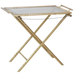 Faux Bamboo Brass Tray Top Table