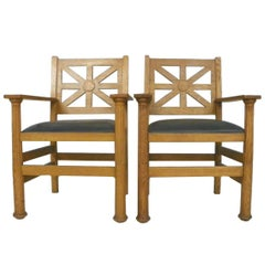 Pair of Arts & Crafts Oak & Leather Armchairs