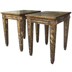 Pair of 1920-1960s Multicolored Giltwood Side Tables