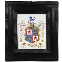 Framed Coat of Arms on Vellum with Flemish Frame