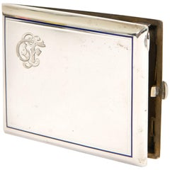 Silver Hèrmes Cigarette Box with Blue and White Enamel, Hand Engraved Initials
