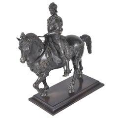 Antique Bronze Soldier, Bartolomeo Colleoni on Horse Back