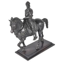 Antique Bronze Soldier, Bartolomeo Colleoni on Horse Back