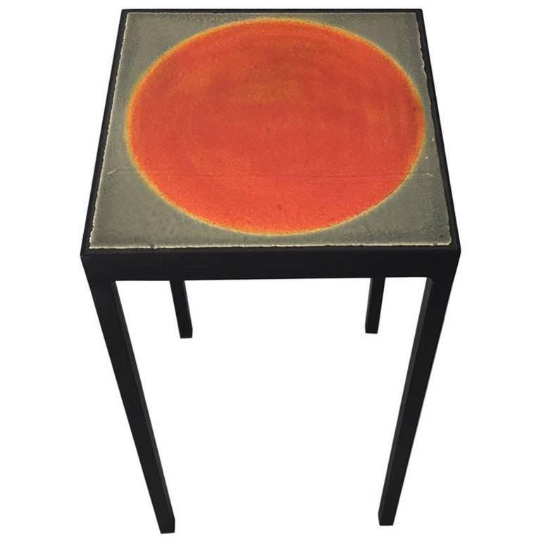 Gueridon Baby Side Table with Vintage Roger Capron Lava Tile For Sale