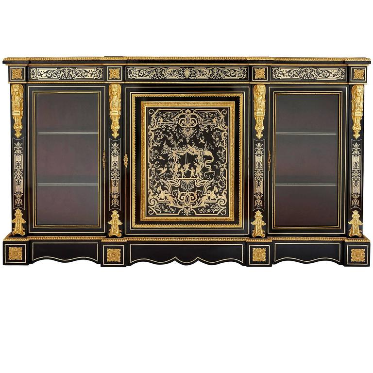 Ormolu And Boulle Ebonised Wood Antique Vitrine Cabinet For Sale