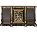 Ormolu and Boulle Ebonised Wood Antique Vitrine Cabinet