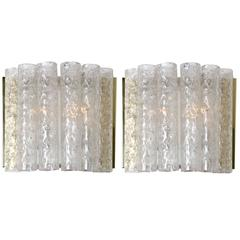 Pair of Doria Wall Lamps in Brass and Glass, 1970s