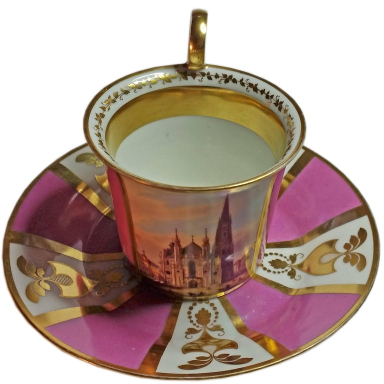 Vienna Imperial Porcelain Cup Saucer Saint Stephen's Cathedral Austria, 1821 For Sale