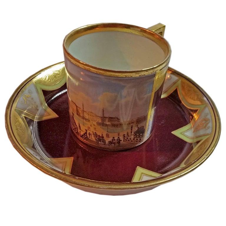 Vienna Imperial Porcelain Cup Saucer Schönbrunn Castle, Austria, 1811 For Sale