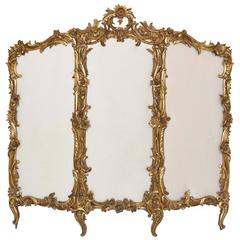 Carved Giltwood Rococo Style Antique Folding Screen