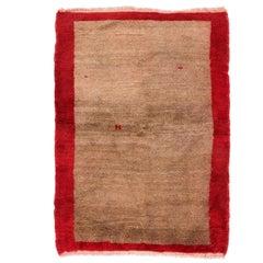 Minimalist Vintage Tulu Rug in Red and Brown Wool