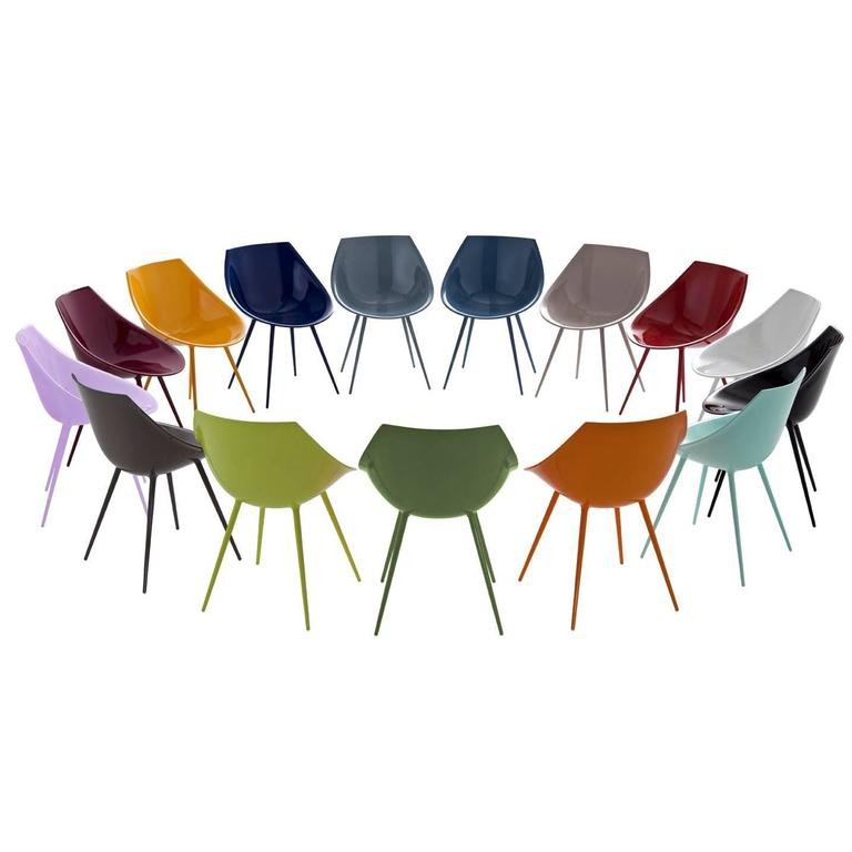 """""""Lago'"""" Lacquered Shell and Aluminum Legs Chair by Philippe Starck for Driade For Sale"""