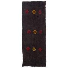 3.9 x 10.4 Ft Natural Black Goat Wool Kilim. Handwoven Flatweave Hallway Rug.