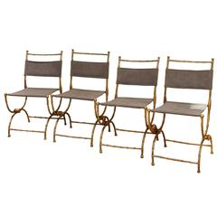Set of Four Folding Faux Bamboo Chairs