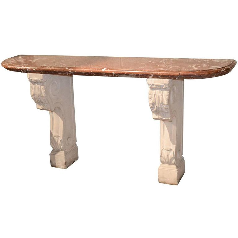 19th Century French Limestone and Marble Console