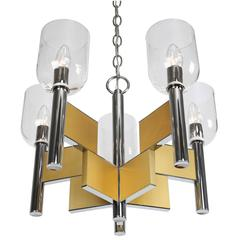 Gaetano Sciolari Chrome and Brass Chandelier with Glass Shades, circa 1970