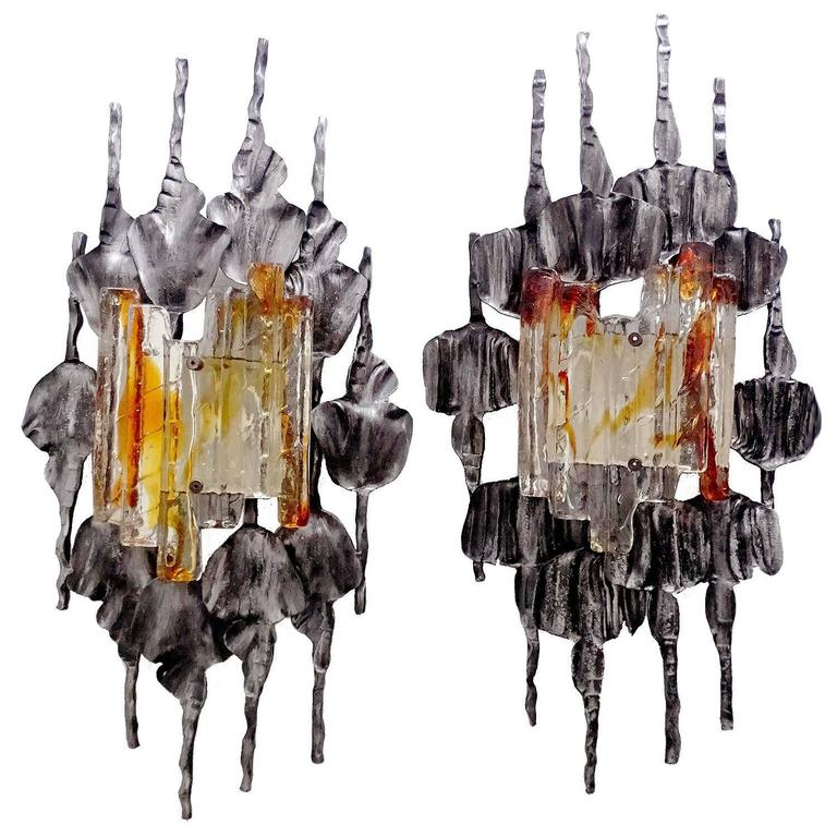 Pair Brutalist Mid Century Modern Murano Glass Sconces, 1960s