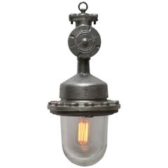 Silver Cast Vintage Industrial Hanging Lamps Clear Glass (7x)