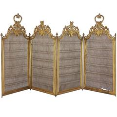 Antique French Ormolu Four-Panel Folding Fire Screen