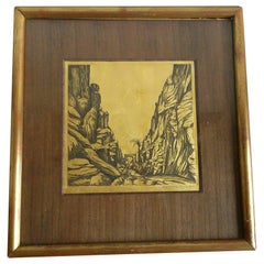 Petite Signed Orientalist Engraving, France, 1940s Ipso Facto