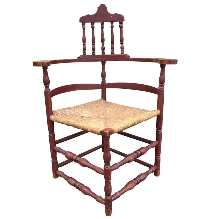 Red 18th Century American Corner Chair For