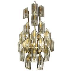 Single Moderne Gilt and Crystals Sconce