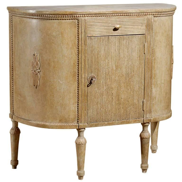 Swedish Neoclassical Demilune Painted Cupboard from the Mid-19th Century