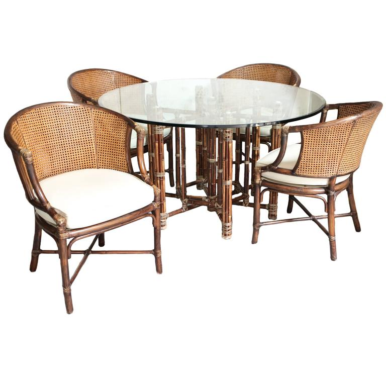 Vintage Bamboo And Rattan Table And Chairs By McGuire At