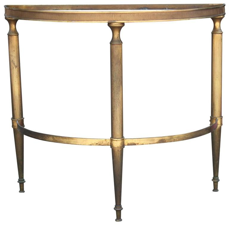 Modern French Brass Demilune Side Table With Vintage Half Moon Mirror Top  For Sale