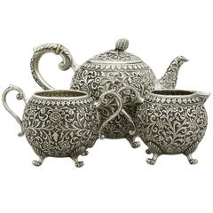 1890s Antique Indian Silver Three-Piece Tea Service by Oomersee Mawjee & Sons
