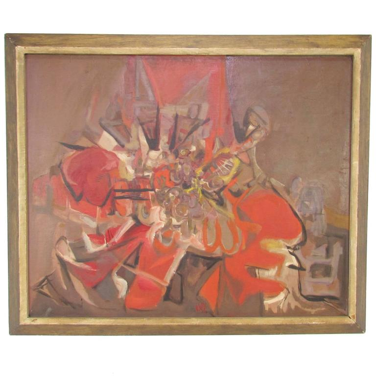 Abstract Expressionist Still Life Oil Painting by Jack Wolfe 'Listed' Dated 1953