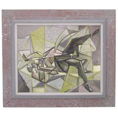 Abstract Cubist Painting by William Littlefield 'Listed' Dated 1951